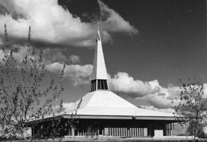"Holy Trinity Memorial Church in Canberra, ACT, by Frederick Romberg of Grounds, Romberg and Boyd (1961). The square-planned, ""tent-roofed"" Lutheran church was designed as a dual-purpose space combining worship and social functions."