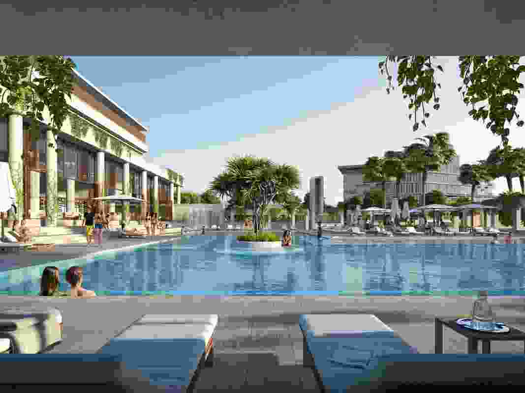 The lagoon-style pool at Richards and Spence's Laguna development.