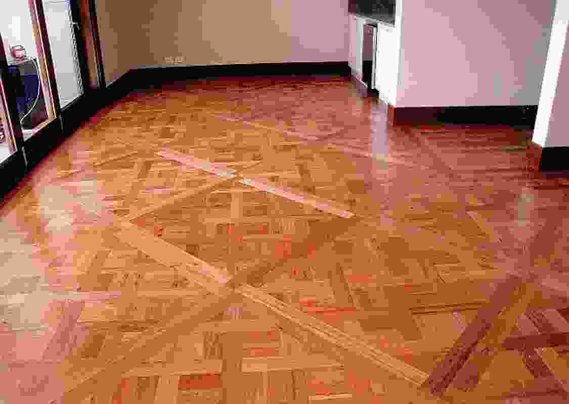 Recycled blackbutt parquetry flooring.
