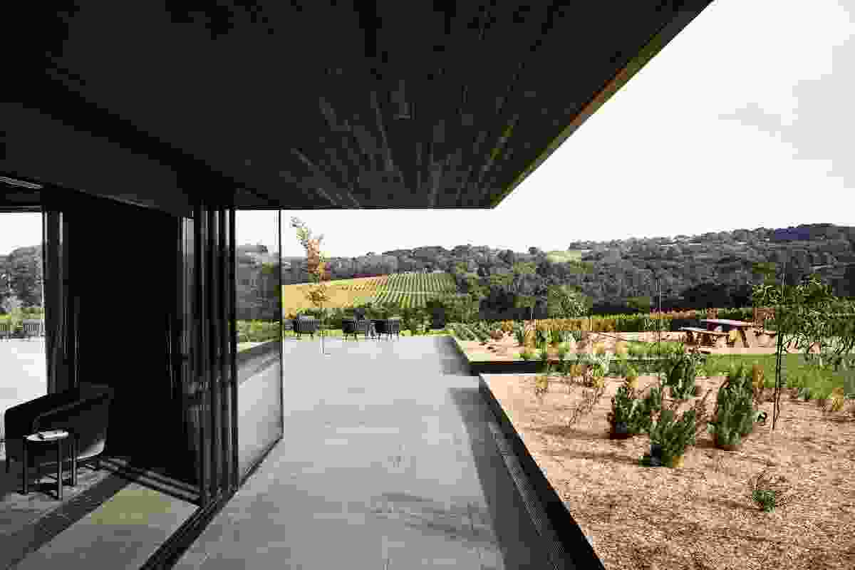 The building's oenological context as a cellar door, function centre and accommodation for Willow Creek Vineyard has inspired an alchemic theme throughout the project.