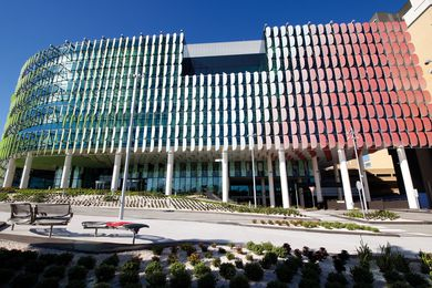 Exterior of The Royal Children's Hospital by Billard Leece Partnership and Bates Smart.