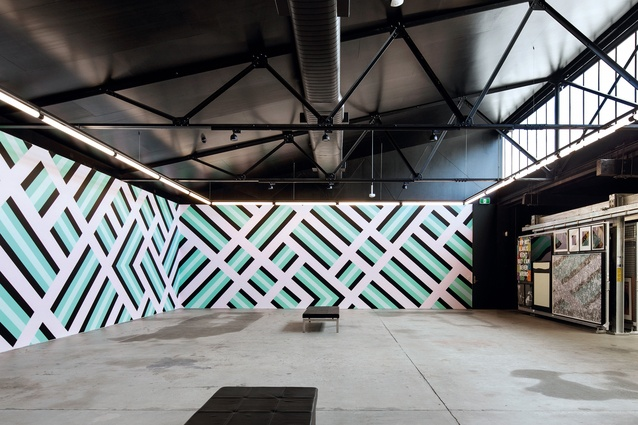 The gallery walls will be changed over time as new works are installed . The space can also be used for events and functions. Artwork: Sam Songailo.