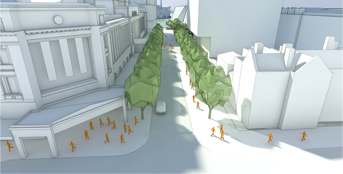 Proposed pgrades to Station Street in the redevelopment of Adelaide Festival Plaza.
