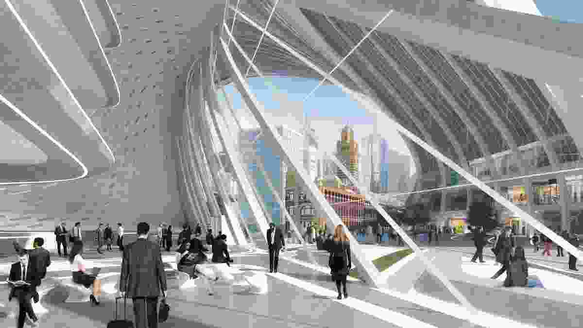 Zaha Hadid Architecture + BVN Donovan Hill: The piazza from the office lobby.