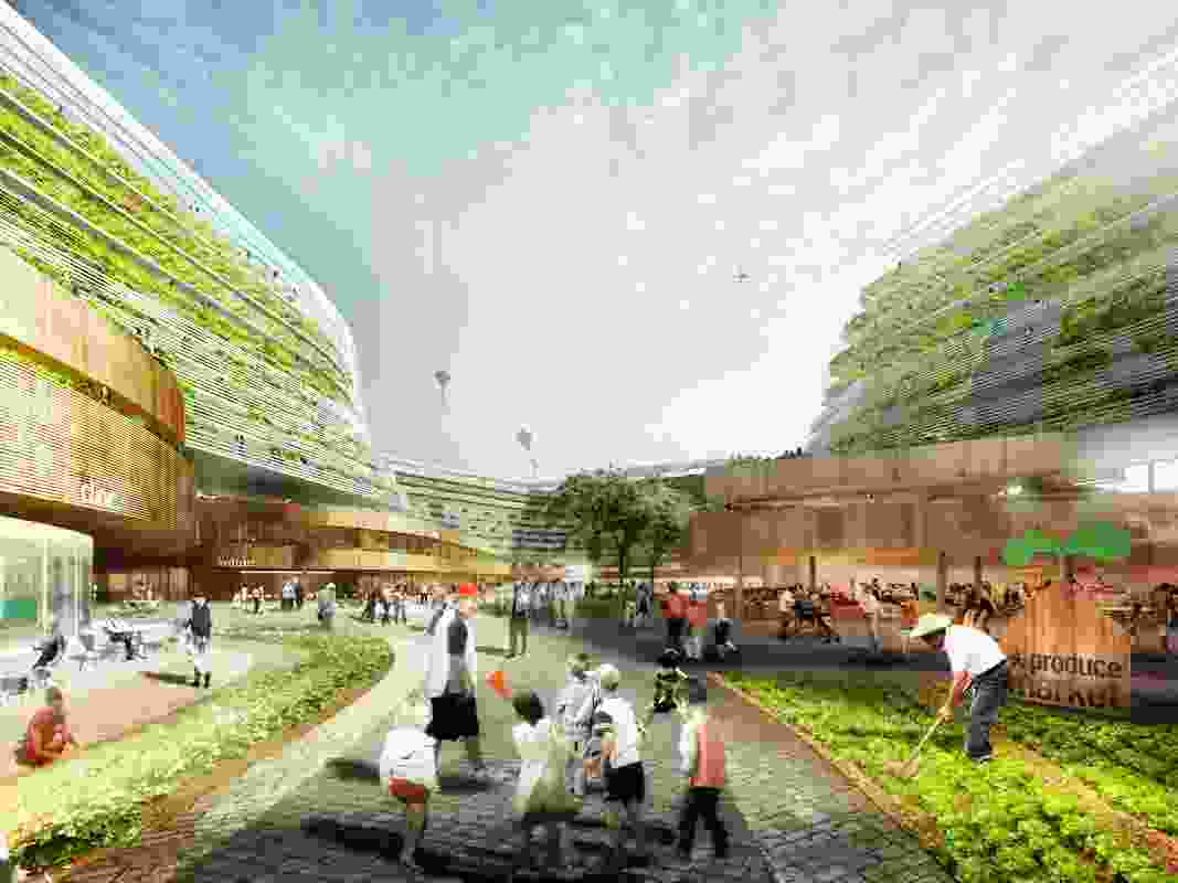 Home Farm, a concept by Singapore-based Spark Architects, is a speculative housing model that combines retirement living with commercial farming.