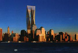 Battery Park view of the elegant twin-looking towers proposal by Fosters and Partners.