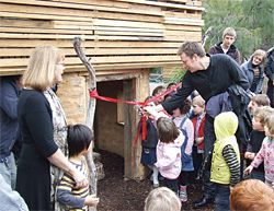 The opening of the Eco-Cubby at the University of Melbourne Early Learning Centre.