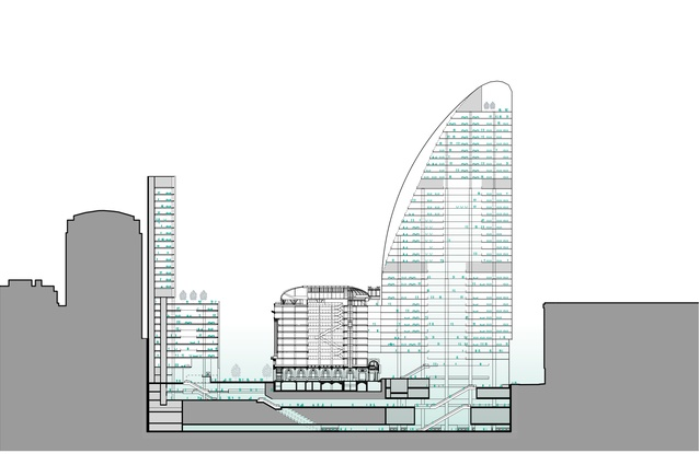 A section of Macquarie Group's unsolicited proposal for Martin Place, designed by Grimshaw and Johnson Pilton Walker.
