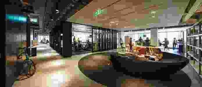 Reception includes an exhibition and lounge area.