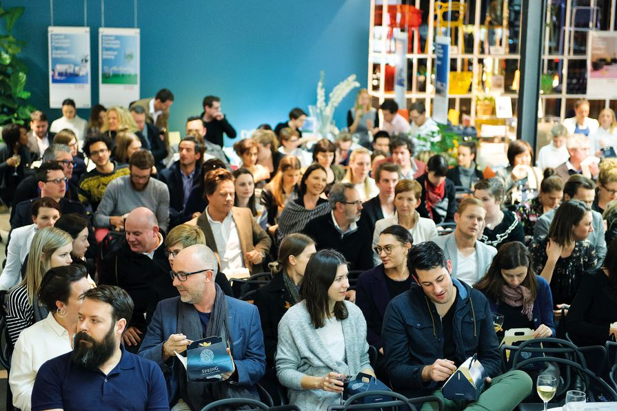 The audience at Artichoke Night School session eighteen at Space Furniture's Brisbane showroom.