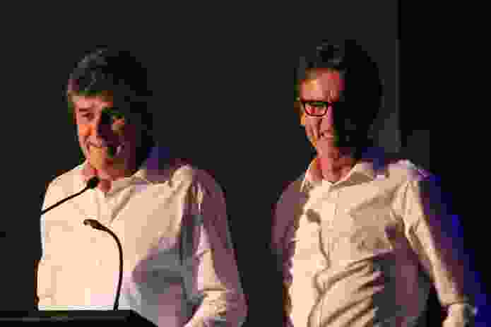 Troppo Architects' Phil Harris and Adrian Welke accept the 2014 Gold Medal.