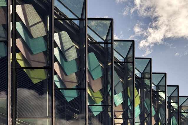 The new entrance to the Australian Museum in Sydney by Neeson Murcutt and Joseph Grech (architects in association) is made with 24 glass panels forming a pleated facade.