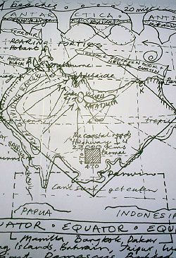 Leon van Schaik's hand-drawn inverted map of Australia, on the wall by the main entrance.