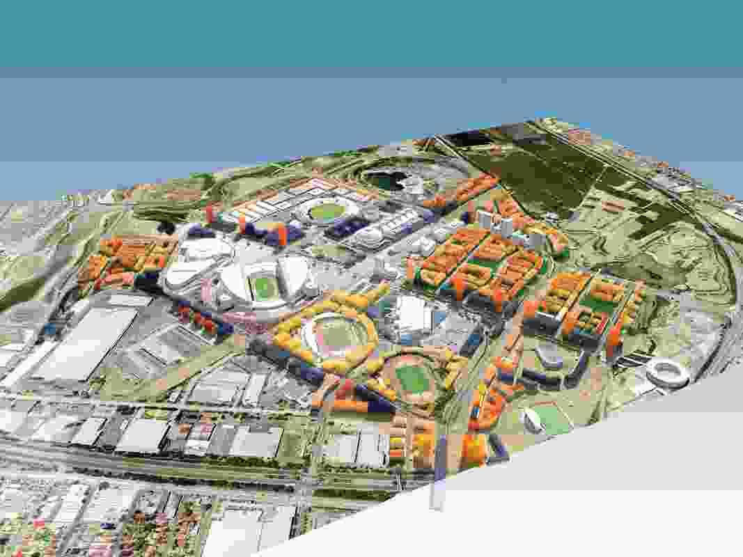 """City block model"" showing perimeter block housing adjacent to major sporting facilities."