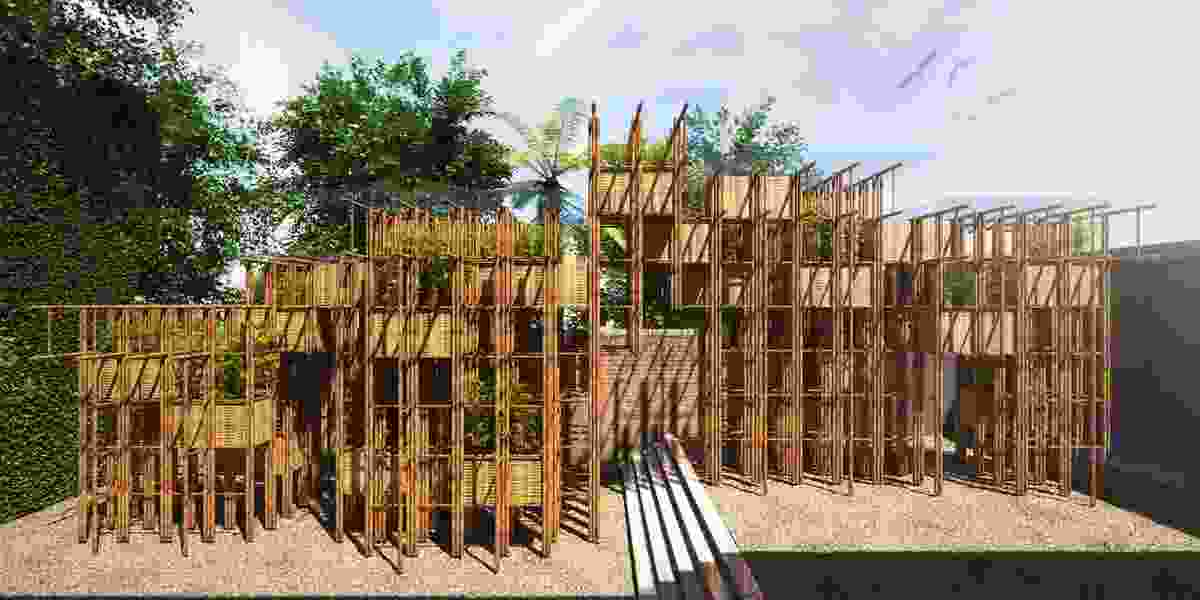 The 2016 Fugitive Structures pavilion Bamboo Wall by Vo Trong Nghia.