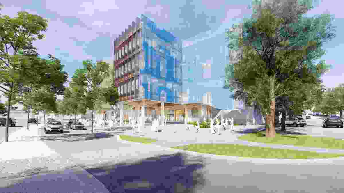 A civic forecourt at the proposed Bendigo Govhub by Lyons Architects.