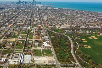 Washington Park in Chicago's South Side (pictured centrally in the foreground) is one of two potential sites for the new Obama Presidential Centre.