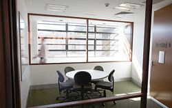 A glazed meeting room on the first floor.