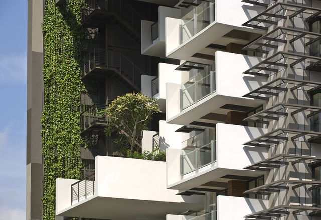 "Newton Suites includes sun-shading elements described by WOHA's Richard Hassell as ""hairy."""