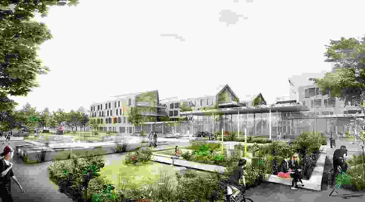 The garden is a central aspect of the project, designed to activate the spaces between the buildings and serve as a healing and health-promoting tool.