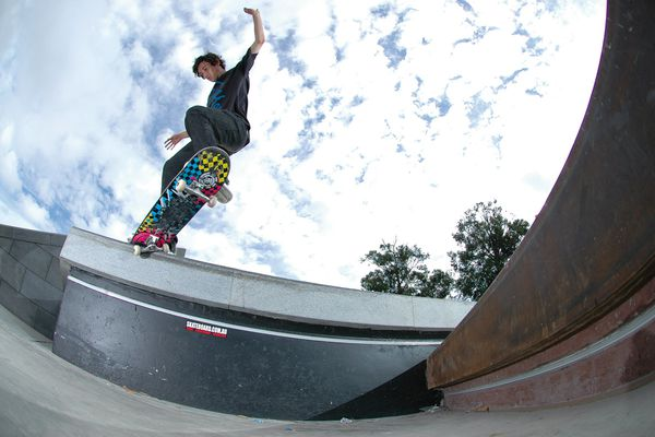 """Skateboarder Jack Crook performs a switch crooked grind at """"the new benchmark for intergenerational public spaces in australia."""""""