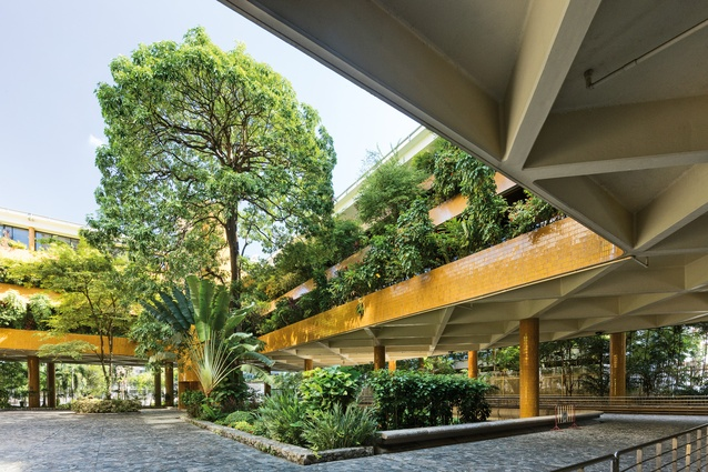 The design of the Australian Embassy in Bangkok, by Ancher Mortlock and Woolley and Bruce Mackenzie Design, aspired to express unity between the global and the local.