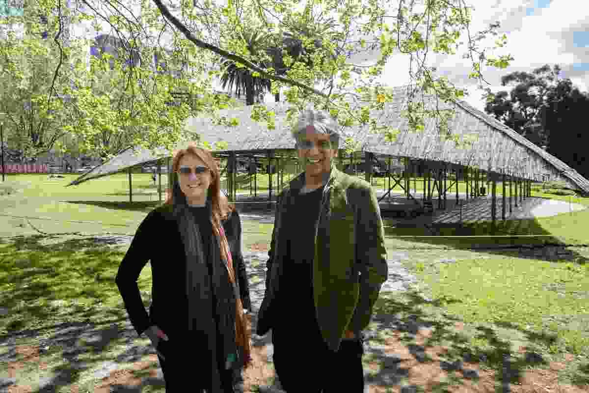 Naomi Milgrom (left) with Bijioy Jain (right) at the 2016 MPavilion designed by Studio Mumbai.