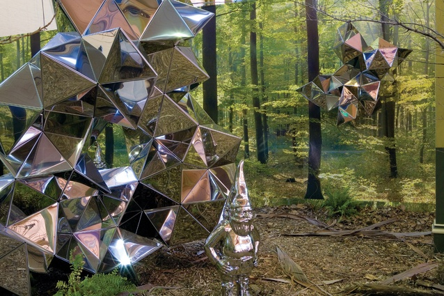 <em>Reflective Lullaby</em>, (2008), installation view. Stainless steel, photographic wallpaper and mixed media.