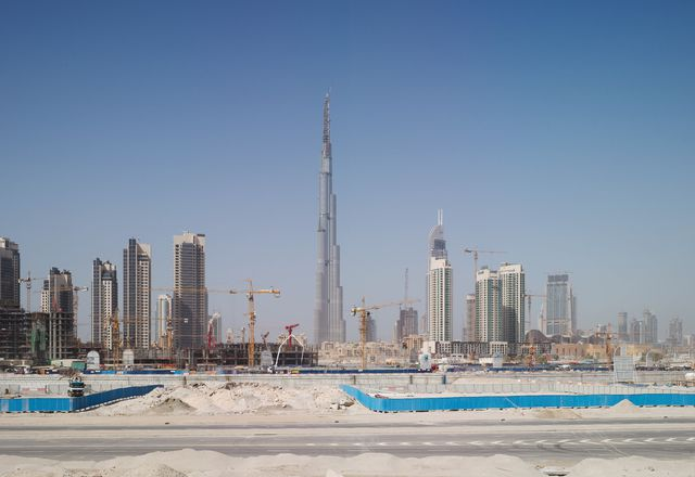 """Highrise construction in Dubai, UAE, where much of the architecture is designed from afar, with little connection to the nuances of place. Juhani Pallasmaa describes it as """"almost irresponsible to design buildings in alien cultures."""""""