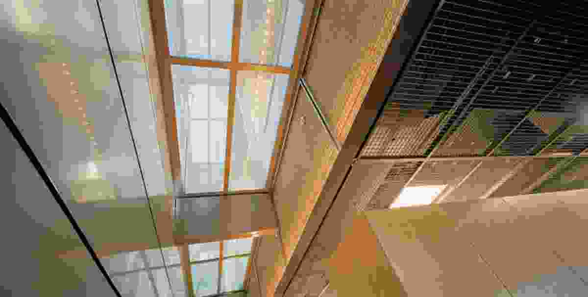 Careful detailing continues the layered theme at every scale. Continuous ceilings of steel mesh panels veil services and lighting.