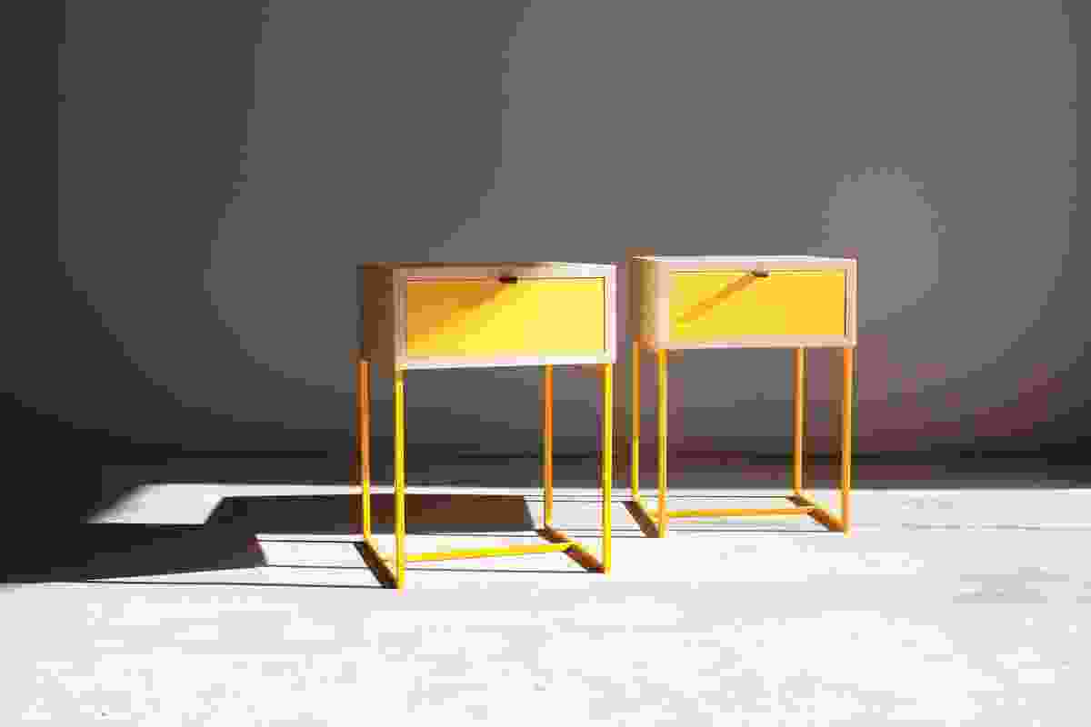 Pure forms and strong colours typify the work of Maker Studio, as seen in these yellow Scout side tables.