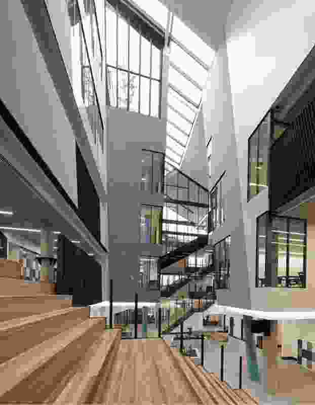 A central void runs through Prahran High School, exploiting natural light and creating unique learning spaces.