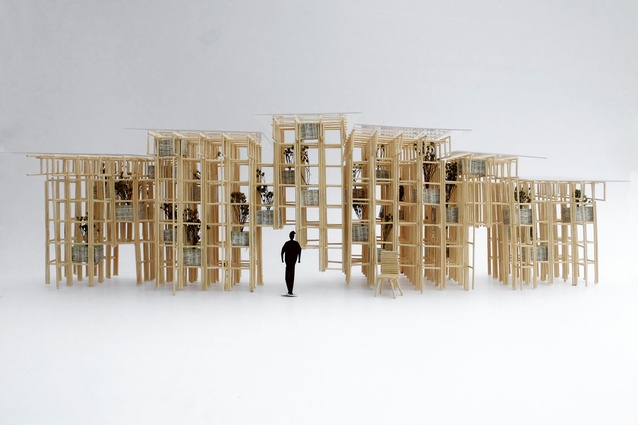 The 2016 Fugitive Structures pavilion <i>Bamboo Wall</i> by Vo Trong Nghia.
