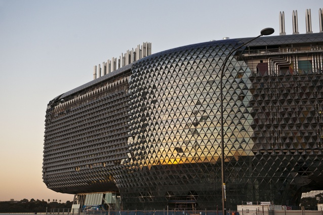 The sculptural form of the SAHMRI building sets it apart from its surrounds.