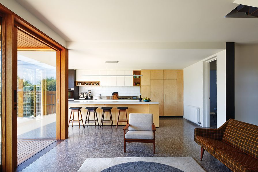 The light and open kitchen was designed around the clients' love of good coffee.