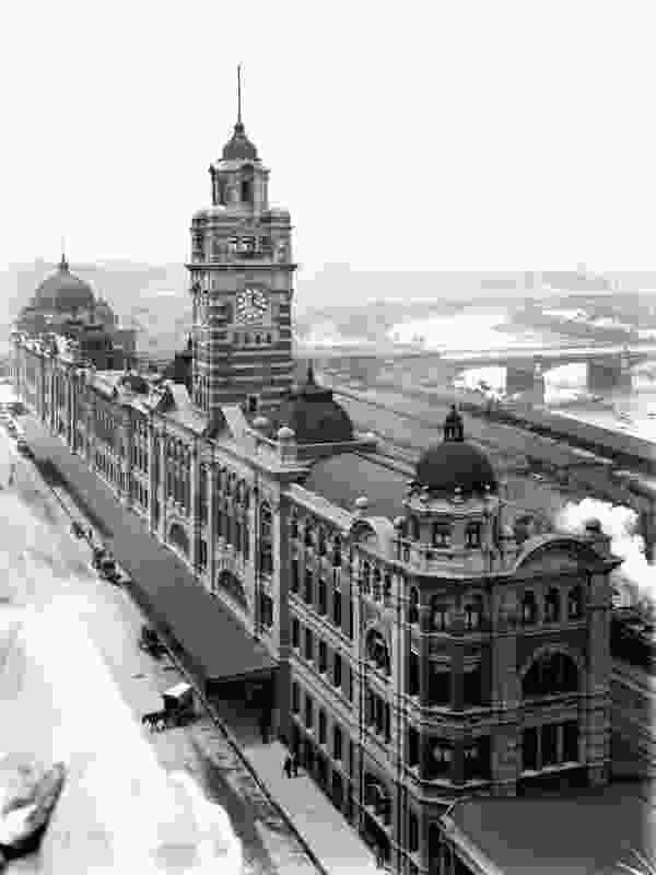 An historic image of Flinders Street Station.