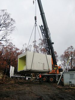 Delivery of the prototype pod on site at Kinglake.
