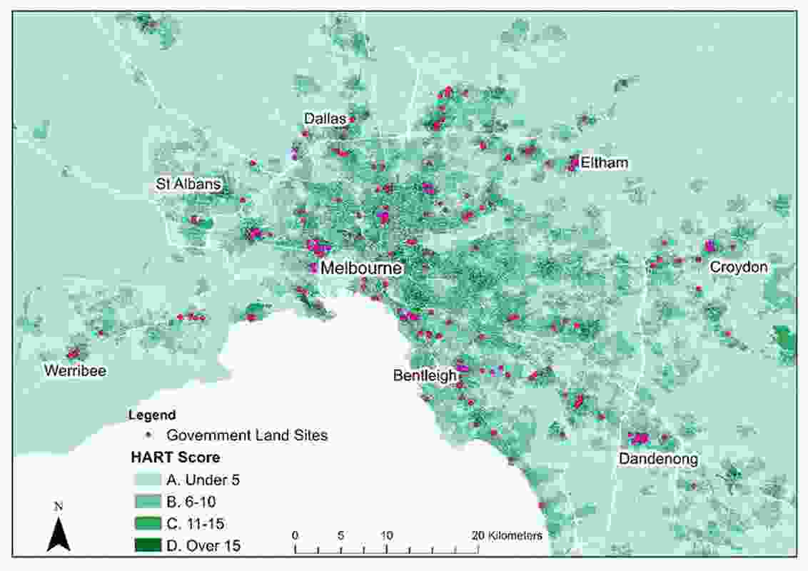 Map of well-located government land (based on HART scores) for social and affordable housing.