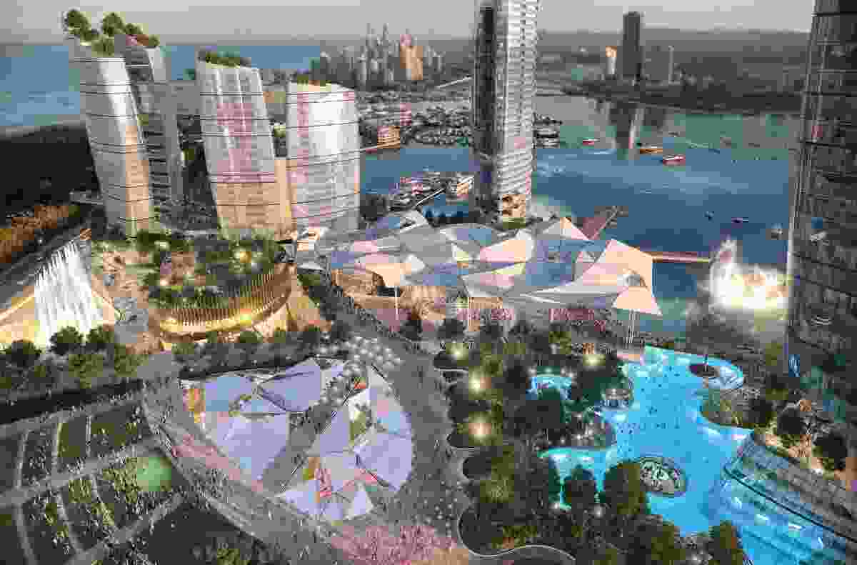 The proposed public realm of the Gold Coast Integrated Resort designed by Blight Rayner.