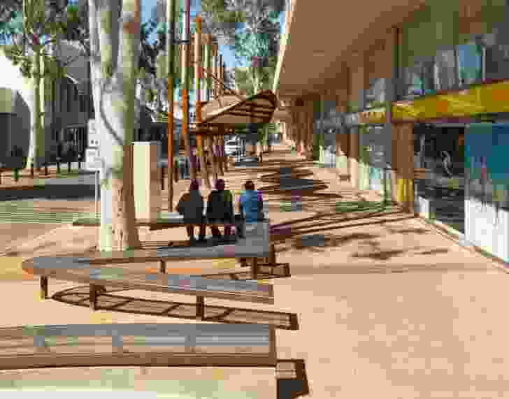 """The Alice Springs CBD Revitalisation (2013) broaches the edge between the """"two towns"""" of Alice Springs. The project reconnects the CBD to the culturally significant Todd River with an open and visually unobstructive design."""