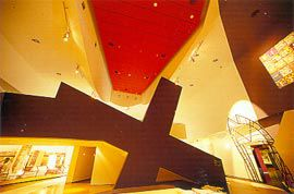 The internal stair, appearing as a giant black cross.