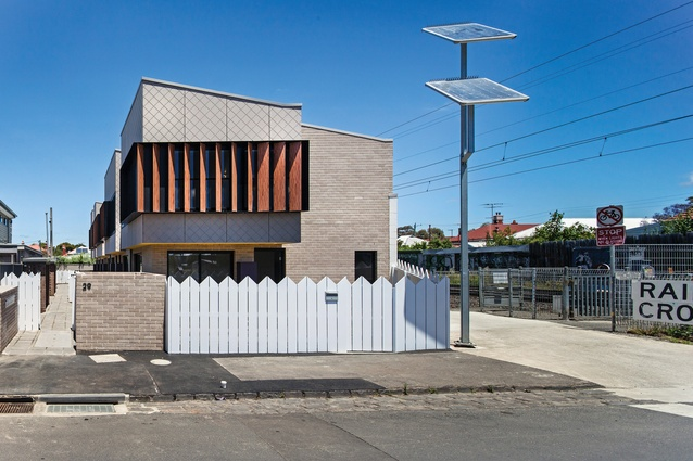 The recently completed development comprises seven one- and two-bedroom townhouses, set on formerly surplus council land alongside the Upfield Bike Path.