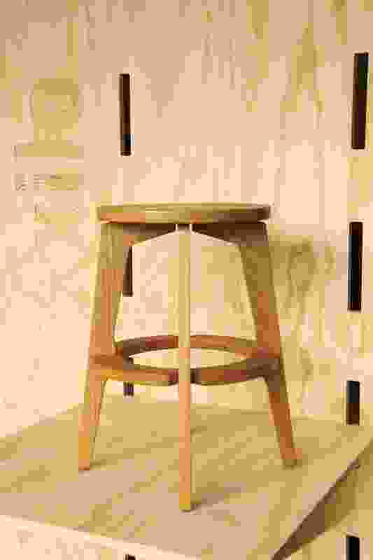 The ST004 stool comes in three sizes, in solid American oak or Australian hoop pine ply with a linoleum top, in a selection of colours.