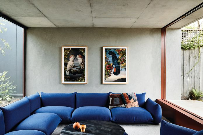 A sunken concrete reading room bridges the courtyard and the garden, offering connection between the outdoor spaces. Artwork: Joseph McGlennon.