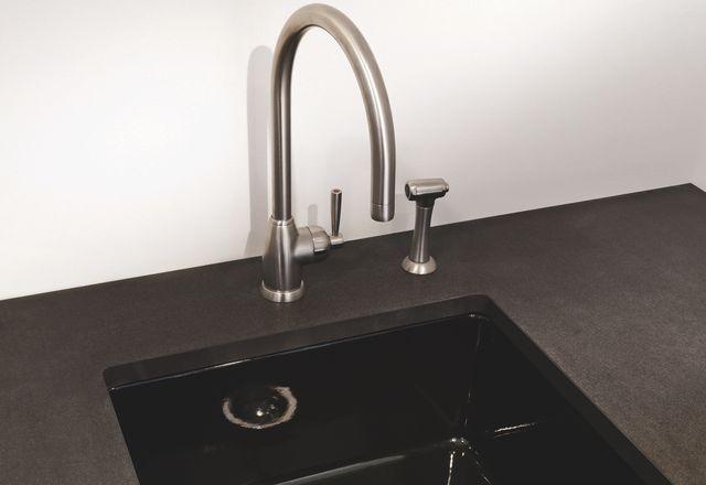 Acquello black fireclay sink.