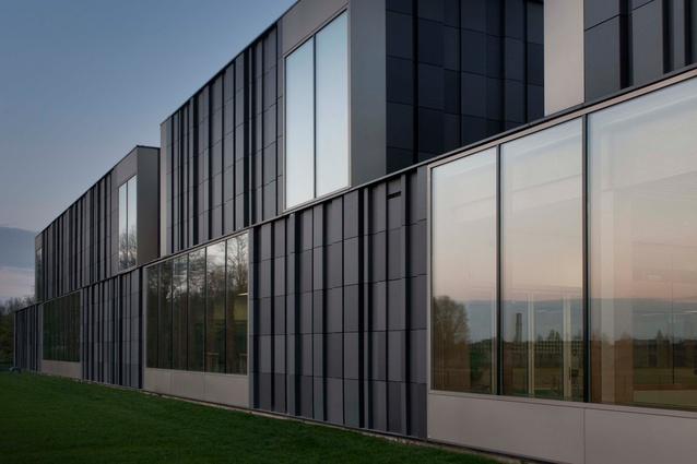 Slangen + Koenis Architecten's Geusseltbad swimming pool in Maastricht uses a bespoke Mosa Facade's tile system.