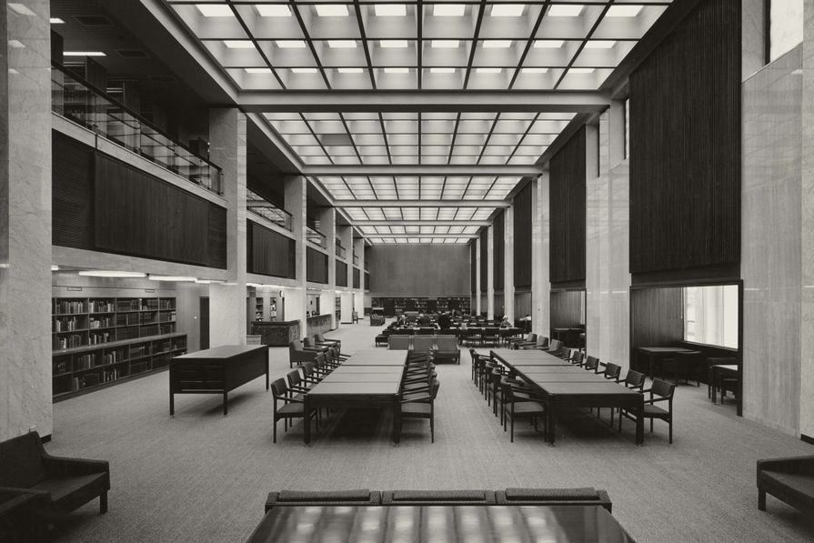 The main reading room of the National Library of Australia by Bunning and Madden, shot from the eastern end (1968).
