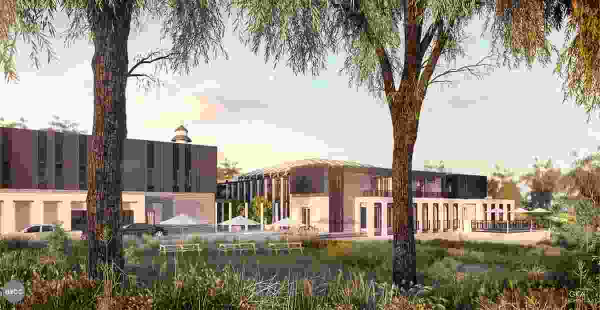 "The proposed Bendigo mosque designed by GKA Architects will be a ""non-monumental"" building set in a valley."