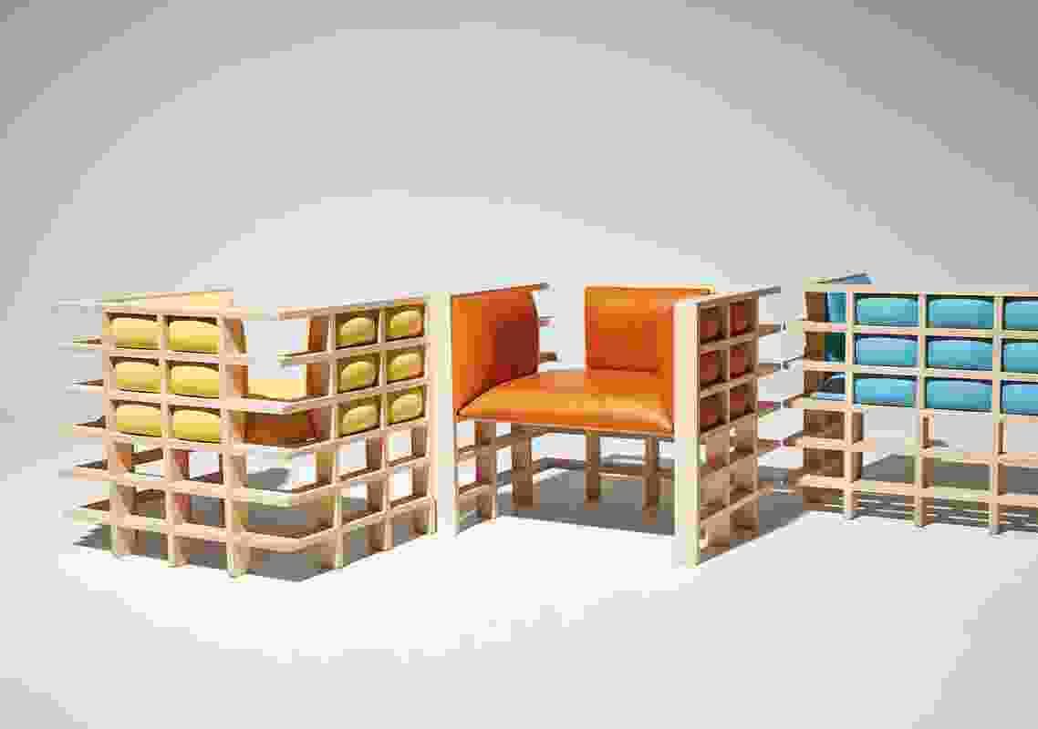 Mochi椅子(2018)展示了统一的网格木框架。