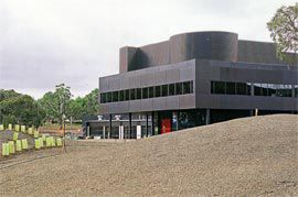 One of many architectural quotations, the west wing of the Institute of Aboriginal and Torres Strait Islander Studies replicates the Villa Savoye, at full scale, in black.
